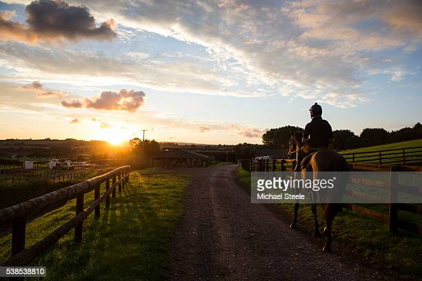 James Best on Alf Wright returns to the yard after heading out alone before first lot at Sandhill Racing Stables on September 17 2015 in Minehead...