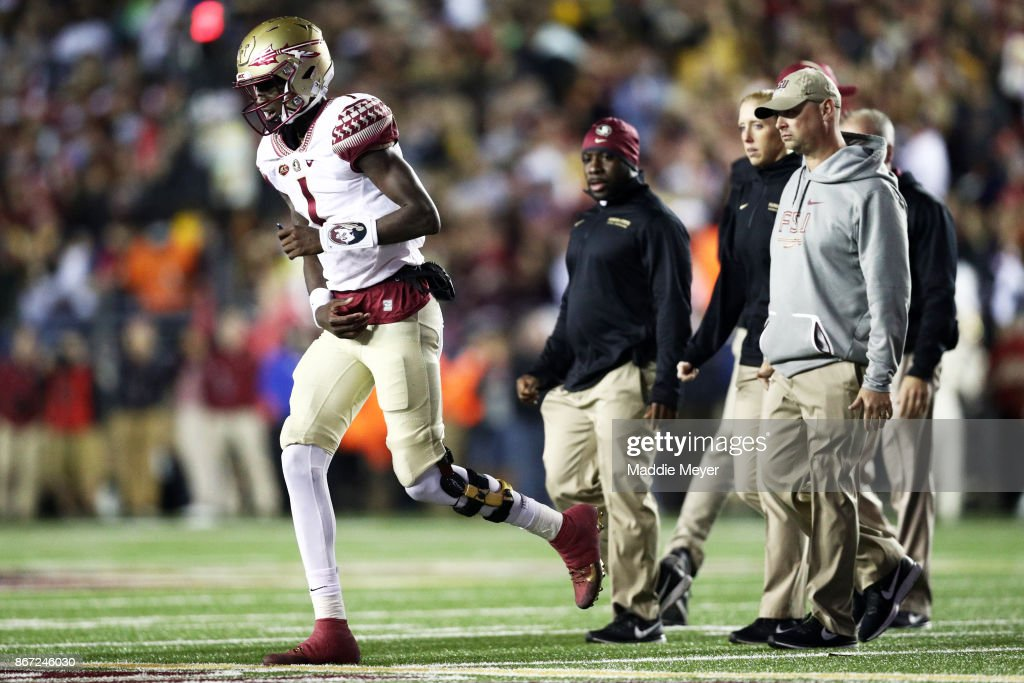 James Blackman #1 of the Florida State Seminoles exits the field during the second quarter against the Boston College Eagles at Alumni Stadium on October 27, 2017 in Chestnut Hill, Massachusetts.