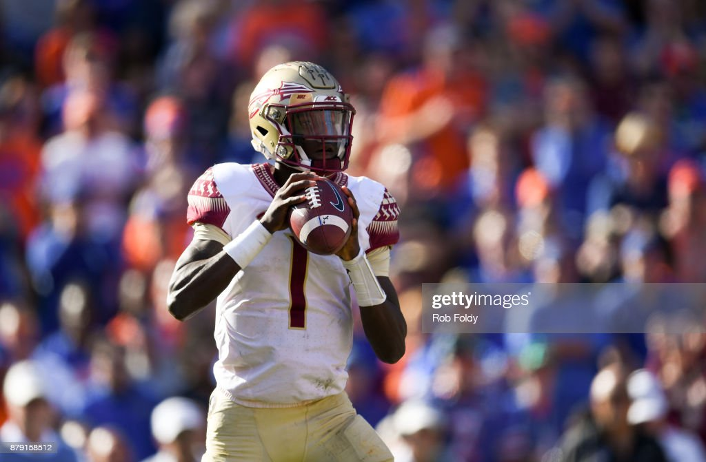 James Blackman #1 of the Florida State Seminoles looks to pass during the game against the Florida Gators at Ben Hill Griffin Stadium on November 25, 2017 in Gainesville, Florida.