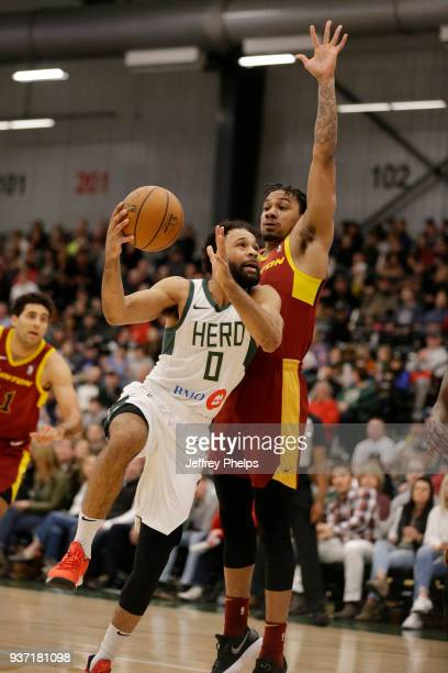 James Blackmon Jr #0 of the Wisconsin Herd drives to the basket against the Canton Charge during the NBA GLeague game on March 23 2018 at the...