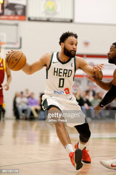 James Blackmon Jr #0 of the Wisconsin Herd handles the ball against the Canton Charge during the NBA GLeague game on March 23 2018 at the Menominee...
