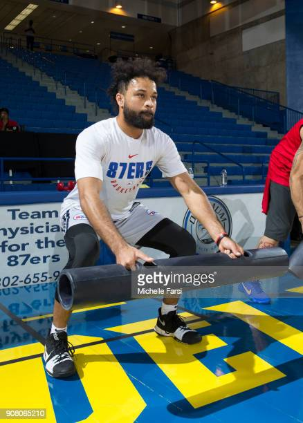 James Blackmon Jr #1 of the Deleware 87ers warmups before the Erie BayHawks v the Delaware 87ers NBA GLeague game on January 20 2018 at the Bob...