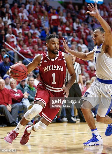 James Blackmon Jr #1 of the Indiana Hoosiers drives to the basket during the game against the Fort Wayne Mastodons at Memorial Coliseum on November...