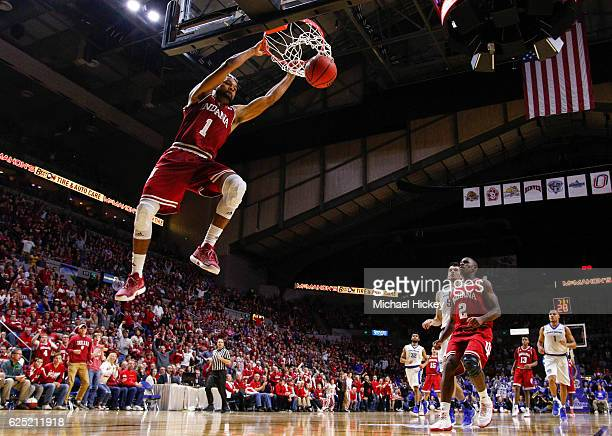 James Blackmon Jr #1 of the Indiana Hoosiers dunks the ball against the Fort Wayne Mastodons at Memorial Coliseum on November 22 2016 in Ft Wayne...