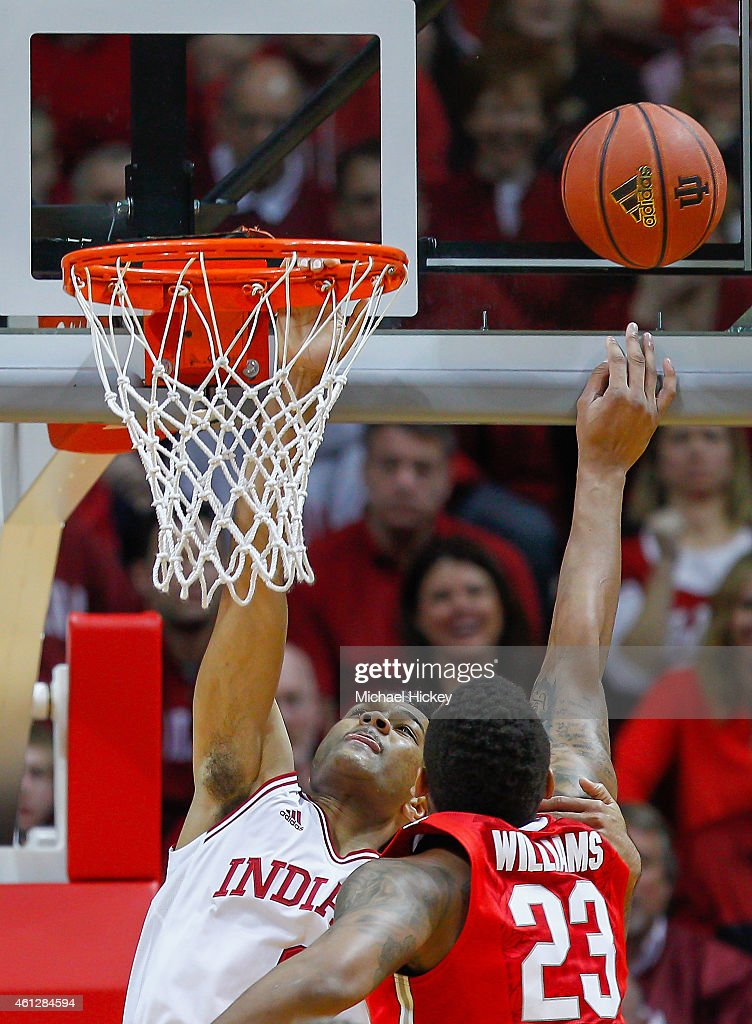 James Blackmon Jr. #1 of the Indiana Hoosiers has his shot blocked by Amir Williams #23 of the Ohio State Buckeyes during the game at Assembly Hall on January 10, 2015 in Bloomington, Indiana. Indiana defeated Ohio State 69-66.