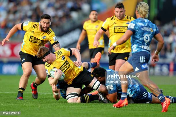 James Blackwell of the Hurricanes charges forward during the round 1 Super Rugby Aotearoa match between the Blues and the Hurricanes at Eden Park on...