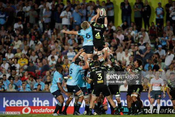 James Blackwell of the Hurricanes takes a line out during the round one Super Rugby match between the Waratahs and the Hurricanes at Brookvale Oval...