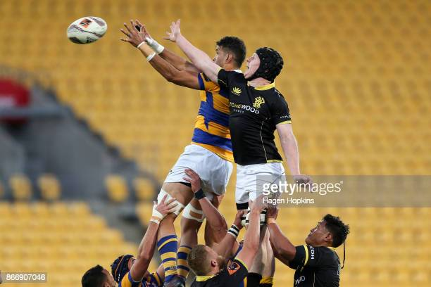James Blackwell of Wellington and Keepa Mewett of Bay of Plenty compete for a lineout during the Mitre 10 Cup Championship Final match between...
