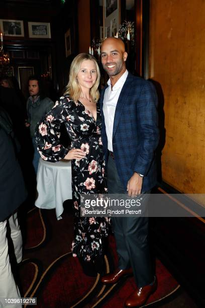 Kelly Slater and guest attend 'Ryder Cup Dinner' at Fouquet's Barriere on September 24 2018 in Paris France