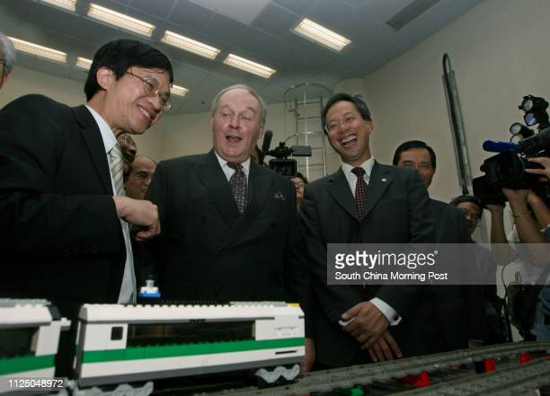 James Blake Chief Executive Officer of KCRC touring the PolyUKCRC Smart Railway Research Laboratory accompany by Prof Ho Siulauand Dean Alex Wai...