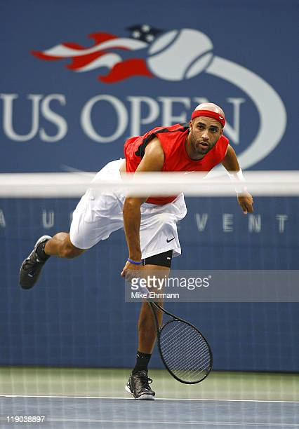 James Blake during his fourth round match against Tomas Berdych at the 2006 US Open at the USTA Billie Jean King National Tennis Center in Flushing...