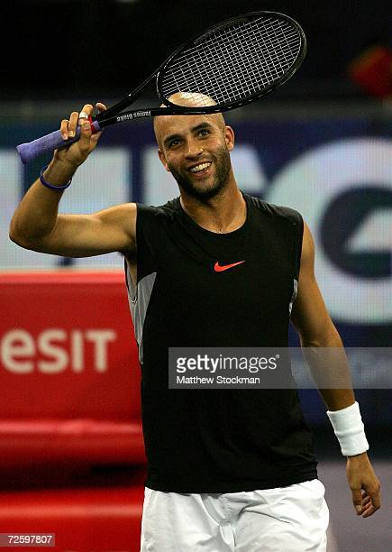 James Blake of the United States acknowledges the crowd after defeating David Nalbandian of Argentina during the semifinals of the Tennis Masters Cup...