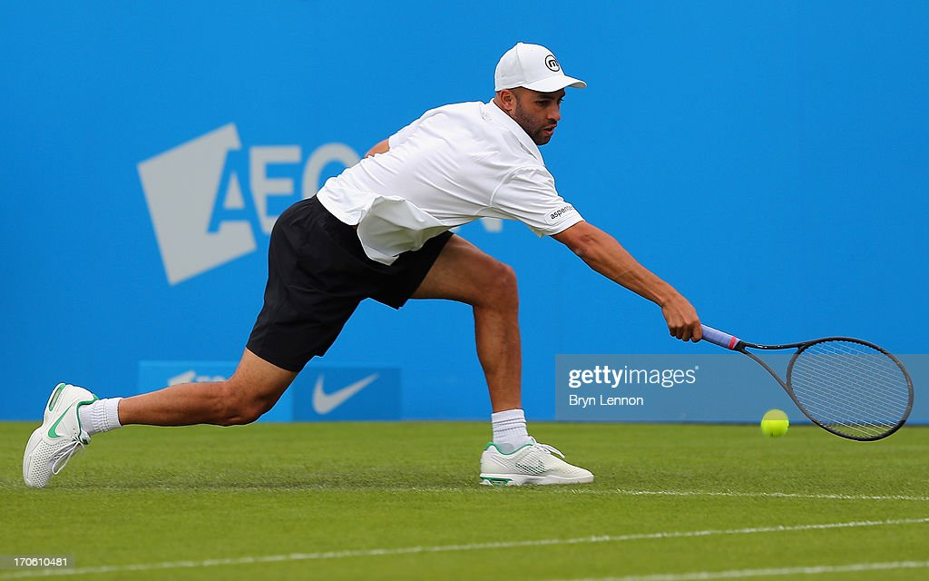 James Blake of the United States in action against Joshua Milton of Great Britain during day one of the Aegon International at Devonshire Park on June 15, 2013 in Eastbourne, England.