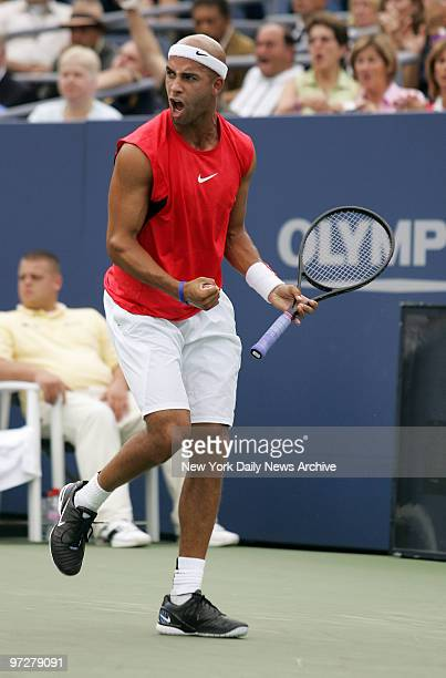 James Blake of the US reacts after scoring against Juan Monaco of Argentina during the first round of the US Open Men's Singles competition in Louis...