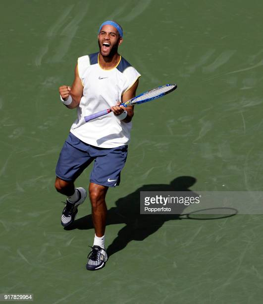 James Blake of the USA celebrates winning his thirdround foursets match against secondseeded Rafael Nadal of Spain during the US Open at the USTA...