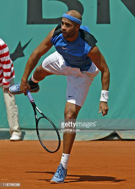 James Blake of the USA defeating Nicolas Almagro of Spain 67 62 64 64 in the second round of the 2006 French Open in Paris France on June 1 2006