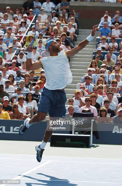 James Blake of the USA enroute to winning his third round match against secondseeded Rafael Nadal of Spain during the US Open at the USTA National...
