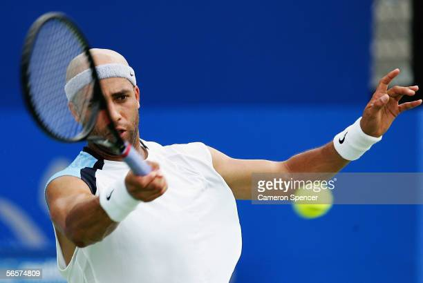 James Blake of the USA hits a forehand during his match against Arnaud Clement of France during day five of the Medibank International at the Sydney...