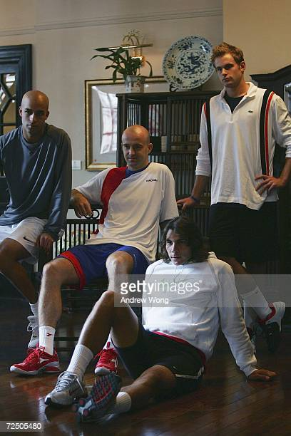 James Blake of the USA Ivan Ljubicic of Croatia Rafael Nadal of Spain and Andy Roddick of the USA pose during a portrait shoot on November 10 2006 at...