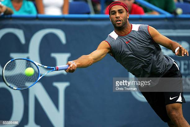 James Blake of the USA lunges to reach a forehand in his semi final match against Tomas Berdych of the Czech Republic at the Legg Mason Tennis...