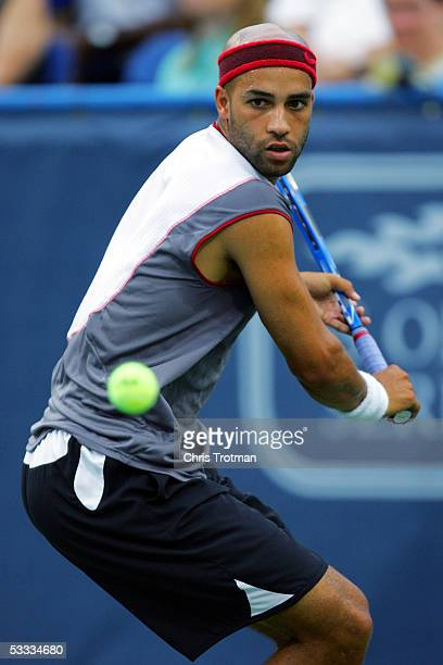 James Blake of the USA reacts hits a backhand against Tomas Berdych of the Czech Republic during their semi final match at the Legg Mason Tennis...