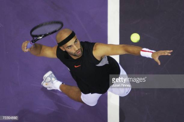 James Blake of United States serves in his match against Kristof Vliegen of Belgium during day three of the ATP Madrid Masters Tennis at the Nuevo...