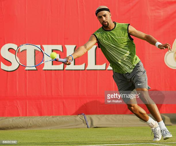 James Blake of USA returns a forehand during his first round match against Jeff Morrison of USA at the Stella Artois Tennis Championships at the...