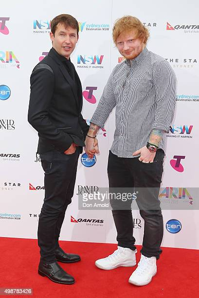 James Blunt and Ed Sheeran arrive for the 29th Annual ARIA Awards 2015 at The Star on November 26 2015 in Sydney Australia