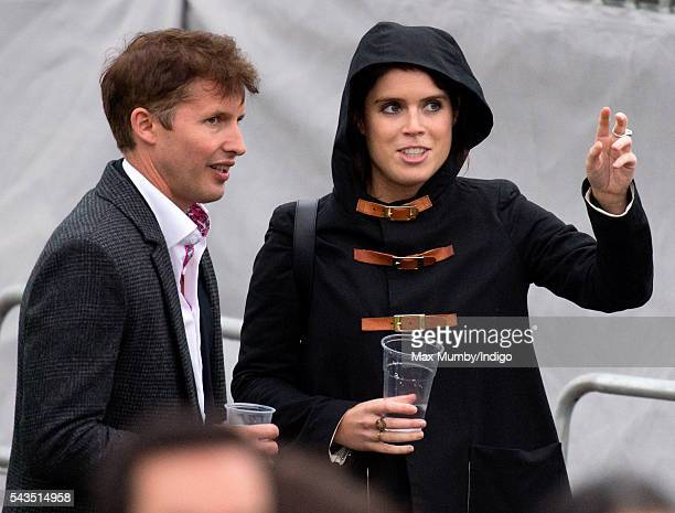 James Blunt and Princess Eugenie attend the Sentebale Concert at Kensington Palace on June 28 2016 in London England Sentebale was founded by Prince...