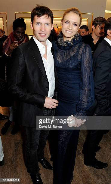 James Blunt and Sofia Wellesley attend the Furla flagship store reopening on November 21 2013 in London England