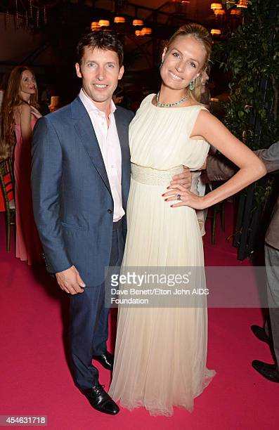 James Blunt and Sofia Wellesley attend the Woodside End of Summer party to benefit the Elton John AIDS Foundation sponsored by Chopard and Grey Goose...