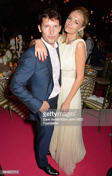James Blunt and Sofia Wellesley, wearing Cortana dress, attend the Woodside End of Summer party to benefit the Elton John AIDS Foundation sponsored...