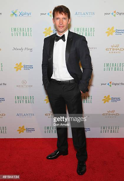 James Blunt arrives ahead of Cancer Council Australia's Emeralds Ivy Gala Ball at Sydney Town Hall on October 9 2015 in Sydney Australia