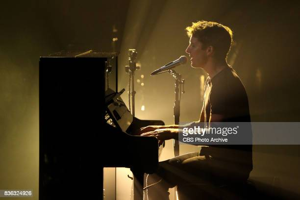 """James Blunt performs during """"The Late Late Show with James Corden,"""" Wednesday, August 9, 2017 On The CBS Television Network."""