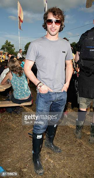 James Blunt poses backstage at Glastonbury Festival wearing Hunter Wellies in support of the official Glastonbury charity WaterAid on 28 June 2008 in...