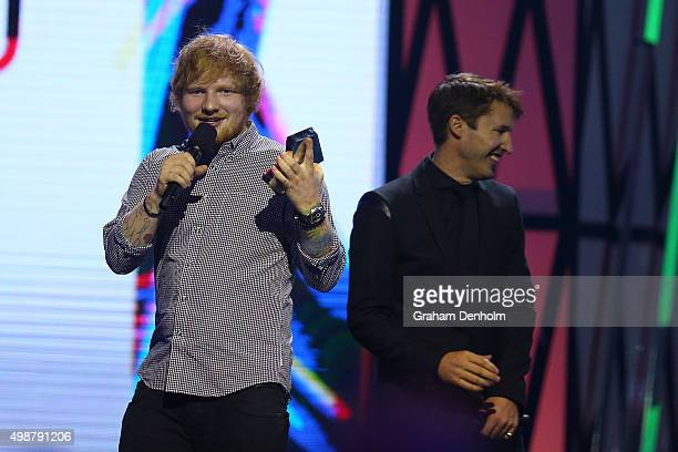 James Blunt presents Ed Sheeran with the ARIA Diamond Award during the 29th Annual ARIA Awards 2015 at The Star on November 26 2015 in Sydney...