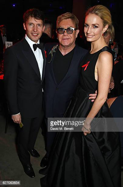 James Blunt, Sir Elton John and Sofia Wellesley attend 'The Radical Eye' dinner and private view for the Elton John Aids Foundation in association...