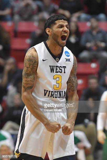James Bolden of the West Virginia Mountaineers reacts against the Marshall Thundering Herd in the first half during the second round of the 2018 NCAA...