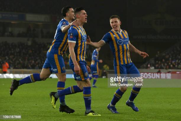 James Bolton of Shrewsbury Town celebrates after scoring a goal to make it during the FA Cup Fourth Round Replay match between Wolverhampton...