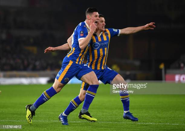 James Bolton of Shrewsbury Town celebrates scoring his side's first goal during the FA Cup Fourth Round Replay match between Wolverhampton Wanderers...