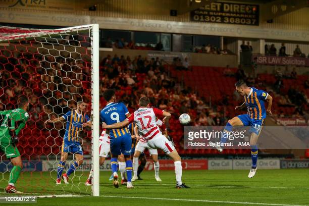 James Bolton of Shrewsbury Town misses a free header on goal during the Sky Bet League One match between Doncaster Rovers and Shrewsbury Town at...
