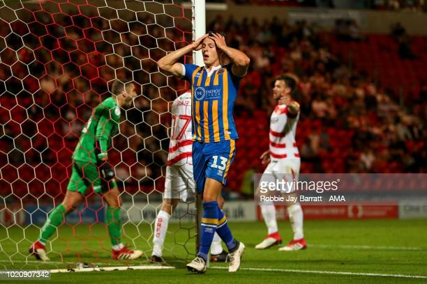 James Bolton of Shrewsbury Town reacts during the Sky Bet League One match between Doncaster Rovers and Shrewsbury Town at Keepmoat Stadium on August...