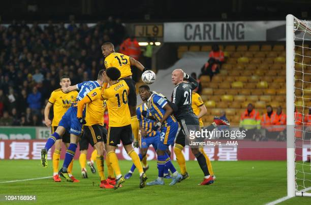 James Bolton of Shrewsbury Town scores a goal to make it 11 during the FA Cup Fourth Round Replay match between Wolverhampton Wanderers and...