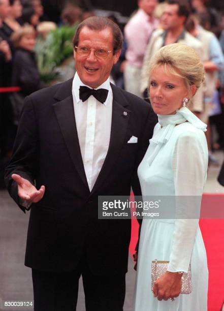 James Bond actor Roger Moore arrives with his friend Christina Tornstrup, for tonight's premiere of the 4 million musical Doctor Dolittle, at...