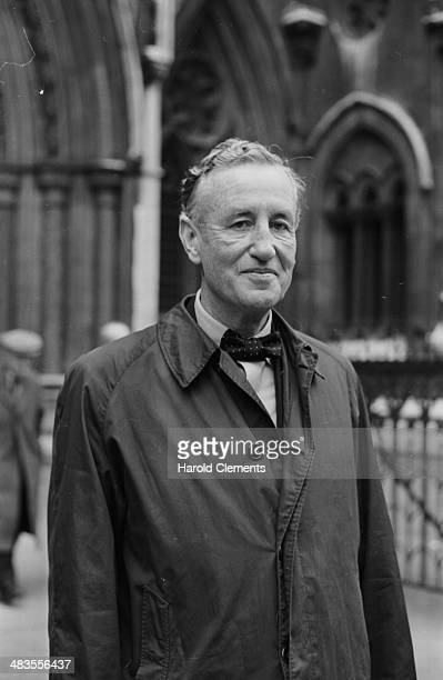 James Bond author Ian Fleming outside court attending his own plagiarism case concerning 'Thunderball' London 1963