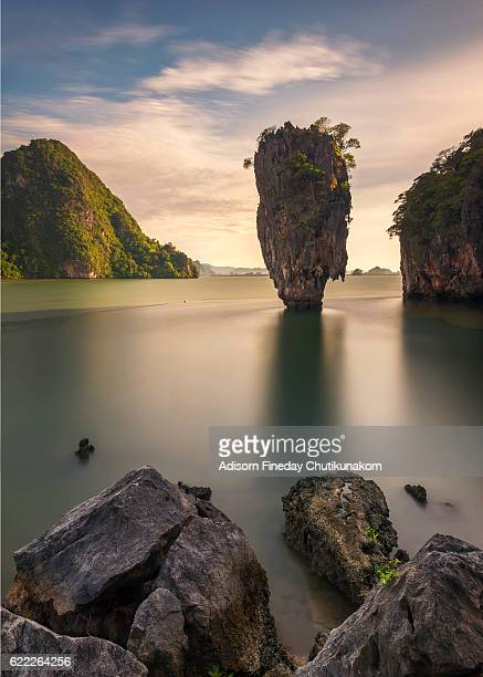 James bond island in Phangnga bay at sunrise time