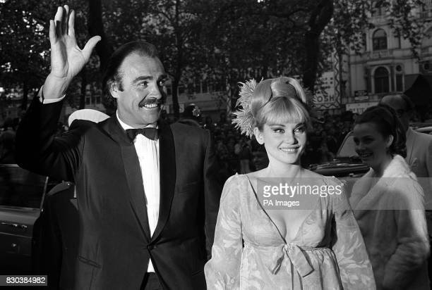 James Bond star Sean connery with his wife Diane Cilento arrives for the World Premiere of his latest film 'You Only Live Twice' at the Odeon cinema...