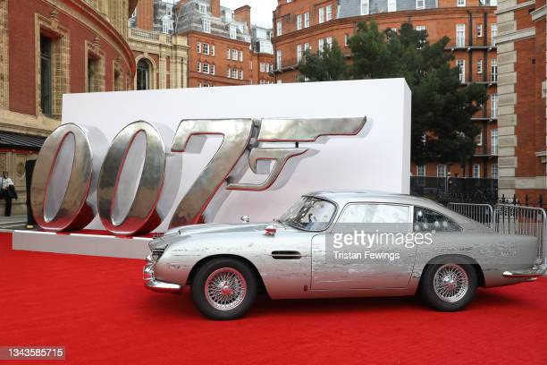"""James Bonds Aston Martin car at the World Premiere of """"NO TIME TO DIE"""" at the Royal Albert Hall on September 28, 2021 in London, England."""
