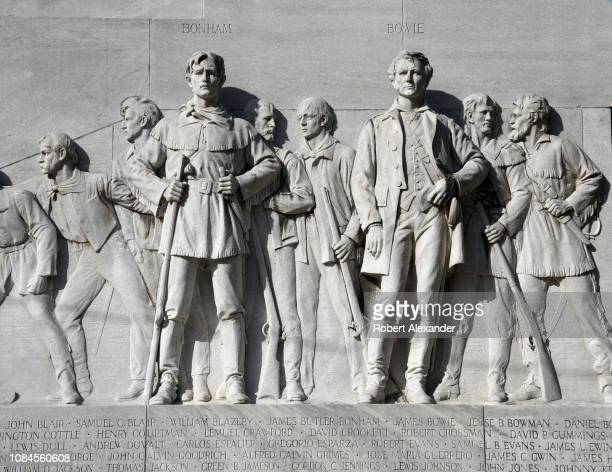 James Bonham and James Bowie are among the men whose likenesses are included on the Alamo Cenotaph monument near Mission San Antonio de Valero better...