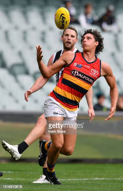 James Borlace of the Crows marks during the round six SANFL match between the Port Adelaide Magpies and the Adelaide Crows at Adelaide Oval on May...